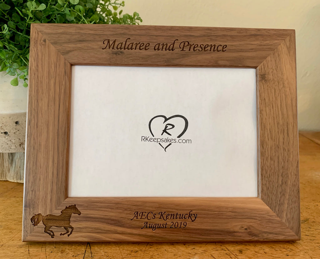 Personalized Horse picture frame with custom text and horse silhouette engraved, walnut frame