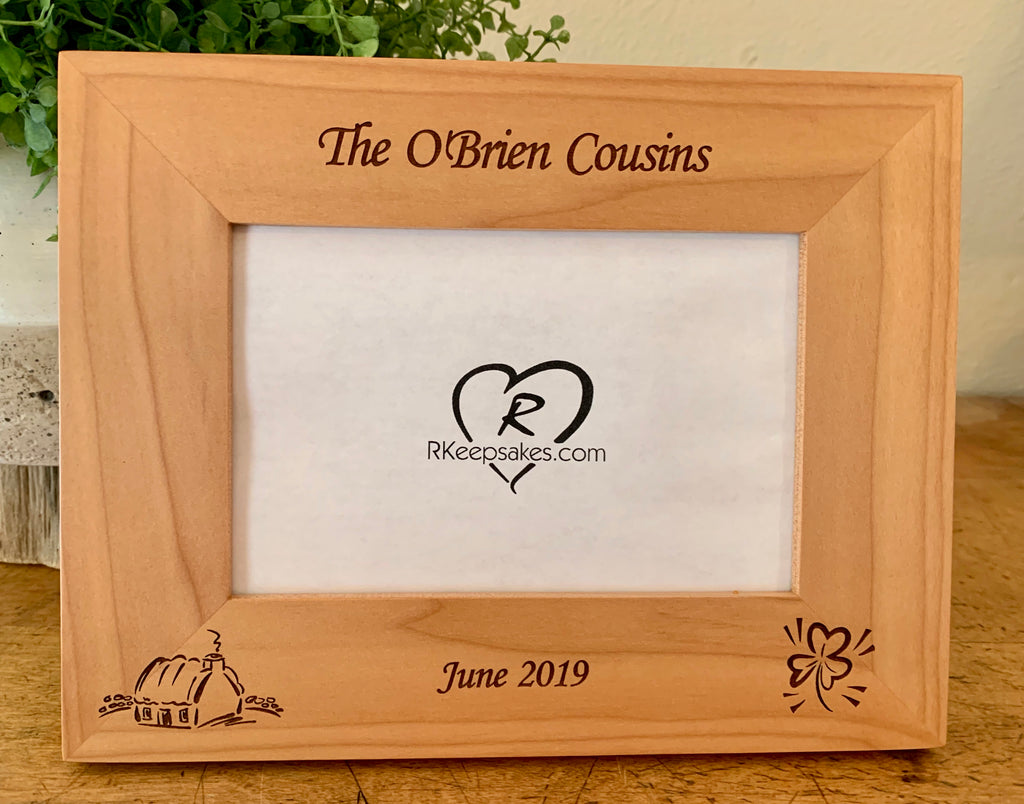 Personalized Ireland Picture Frame with custom text, image of cottage and shamrock engraved