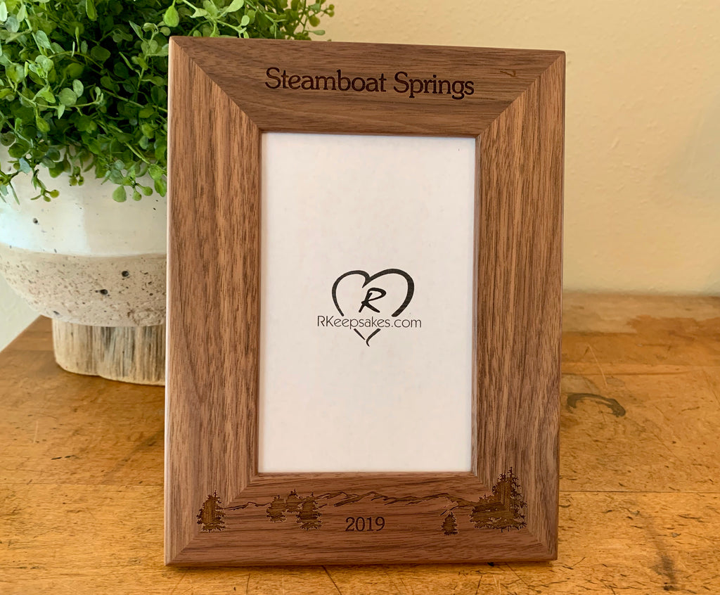 Mountain and Trees Picture frame with custom text and mountain scene engraved, in walnut