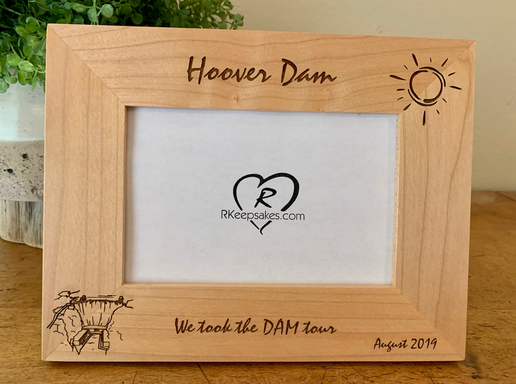 Hoover Dam picture frame with custom text and Hoover Dam image engraved