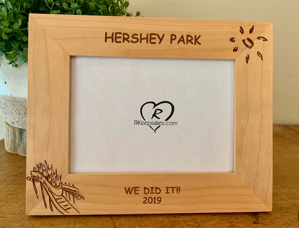 Personalized Rollercoaster Picture Frame with custom text and rollercoaster image engraved, in alder