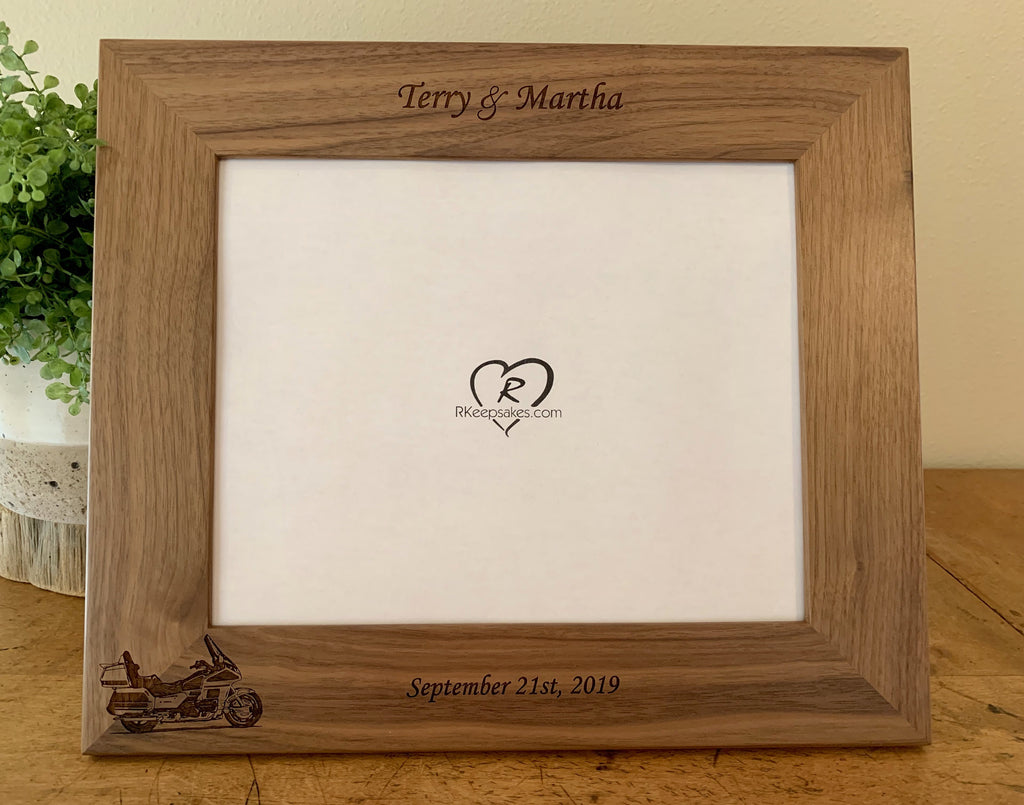 Goldwing motorcycle picture frame with custom text and Goldwing motorcycle image engraved