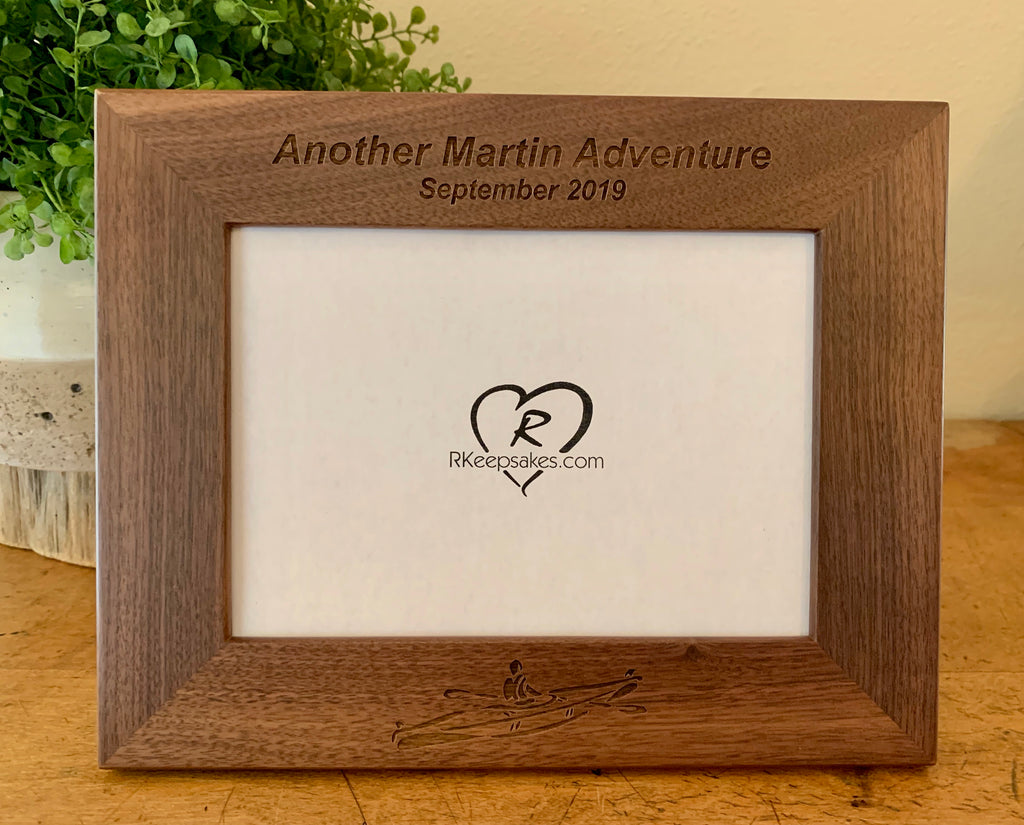Personalized Kayak Picture Frame with custom text and kayak image engraved