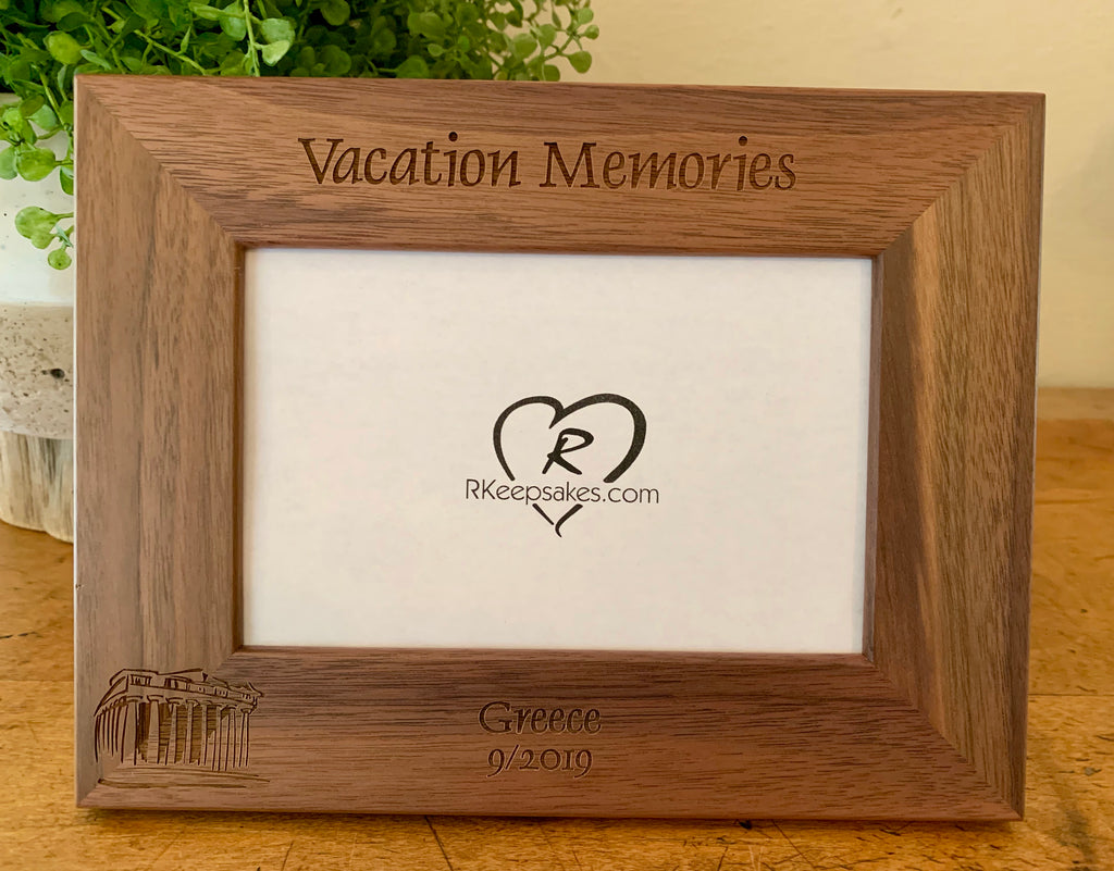 Greece picture frame with custom text and engrave Parthenon image engraved, in walnut