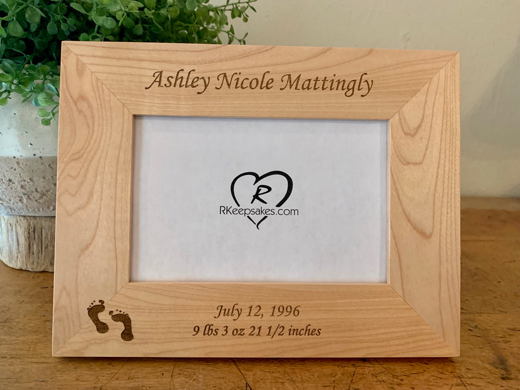Personalized Baby Footprint frame with engraved custom text