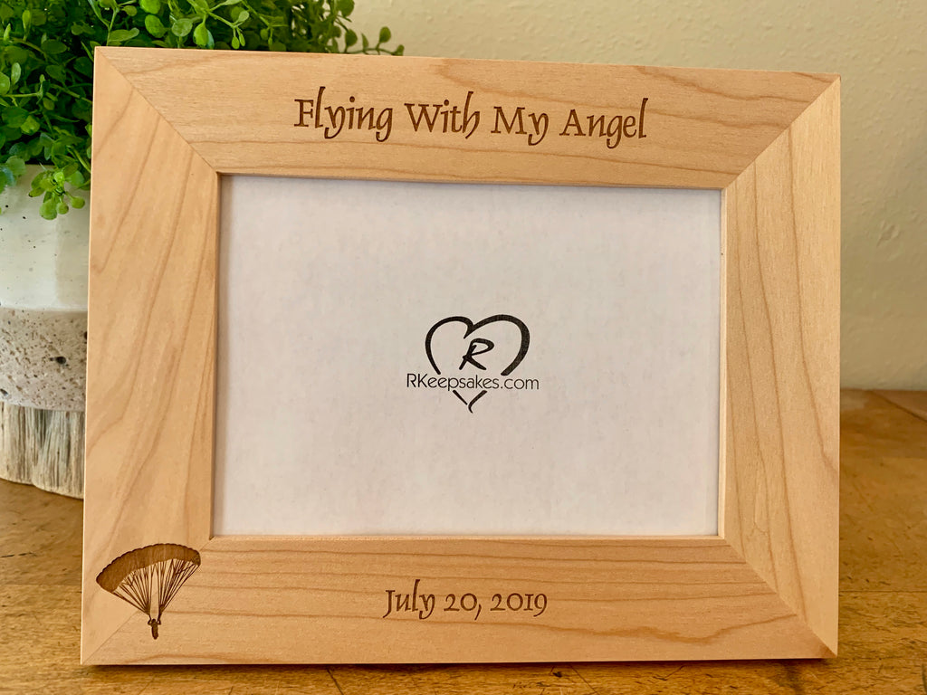 Personalized Skydiver Parachute Picture Frame with custom text and skydiver parachute image engraved, horizontal