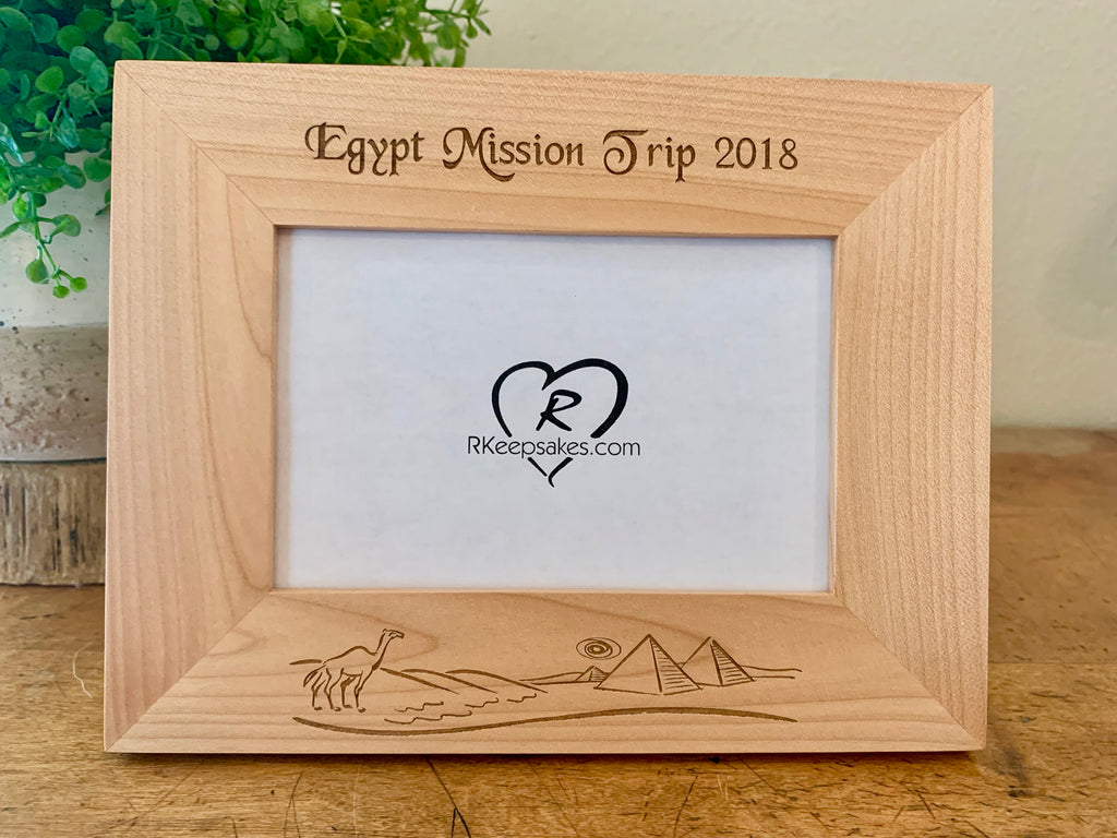 Egypt picture frame with custom text and camels, pyramids engraved