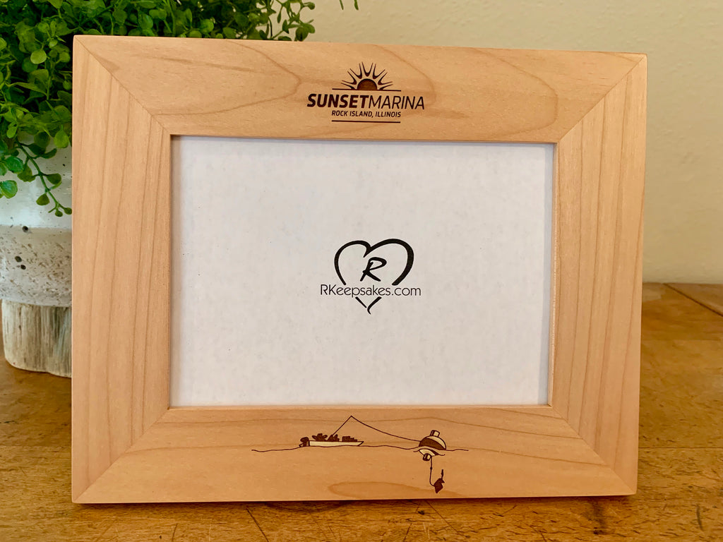 Fishing picture frame with bobber and custom text