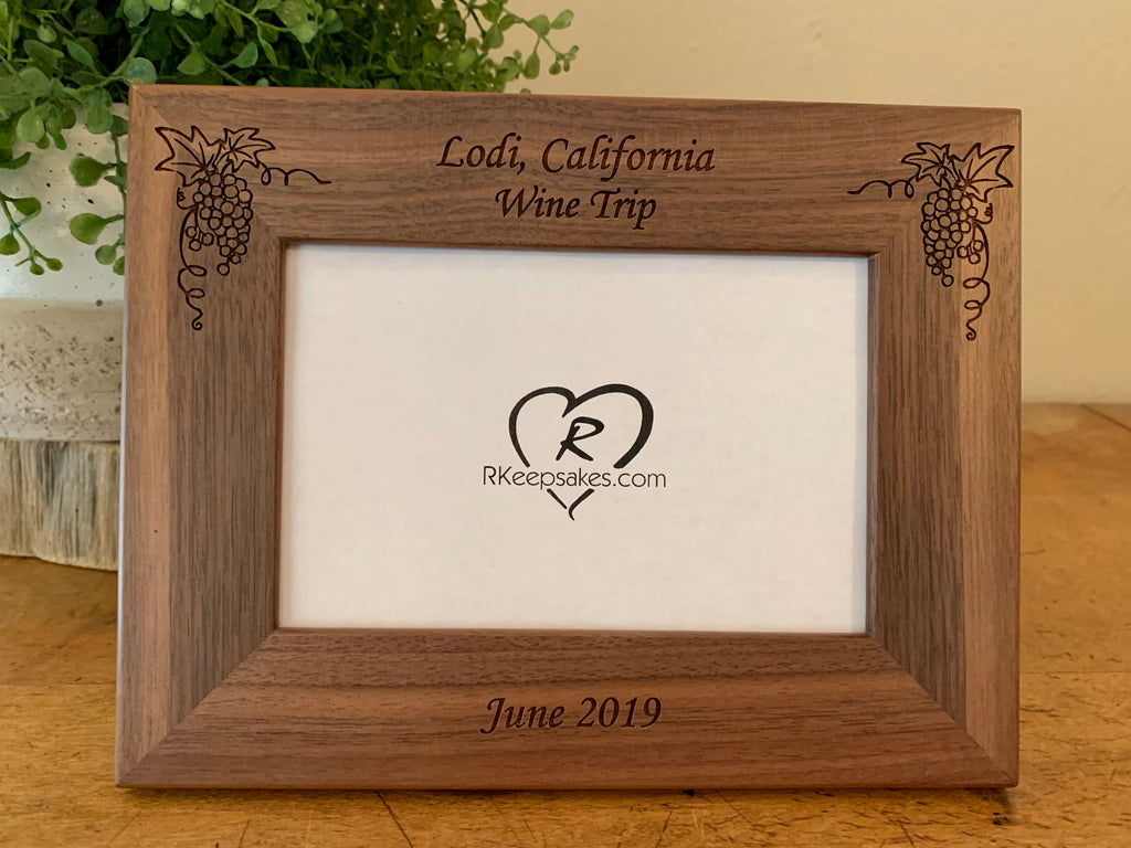 Personalized Winery Picture Frame with Grapes, custom text and images of grapes engraved in walnut