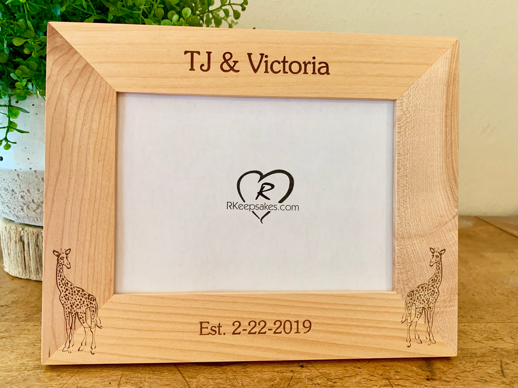 Giraffe Picture frame with custom text and giraffe images engraved
