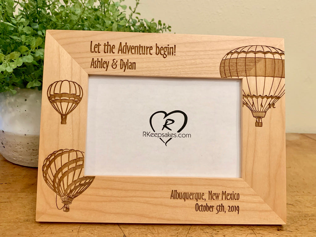 Personalized Hot Air Balloon Picture frame with custom text and hot air balloon images engraved