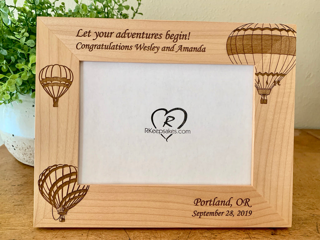 Personalized Hot Air Balloon picture frame with custom text engraved and hot air balloon images