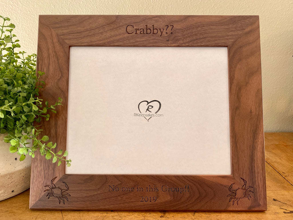 Crab picture frame with custom text and crab images engraved