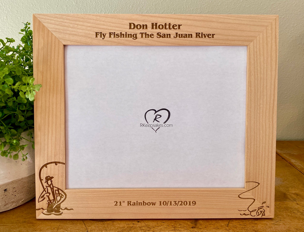 Fly Fishing picture frame with custom text and fly fisherman image engraved