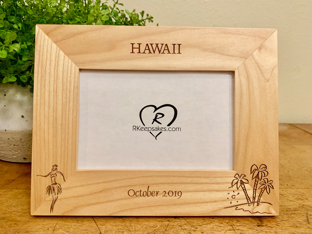 Hawaii Picture frame with custom text and hula dance and island image engraved