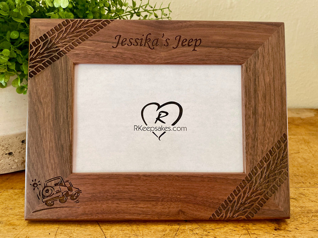 Personalized Jeep Picture frame with custom text, tire tracks and jeep image engraved, in walnut