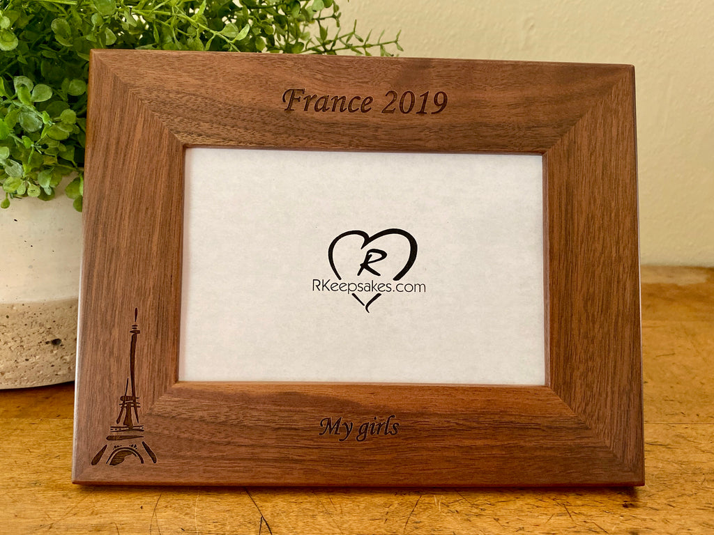 Personalized Paris Picture Frame with custom text and Eiffel Tower image engraved, in walnut