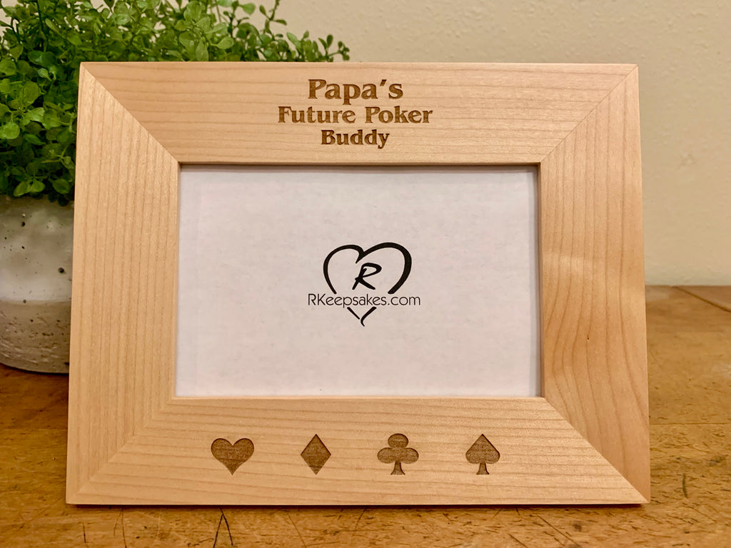 Personalized Poker Picture Frame with custom text and card suits engraved in alder wood