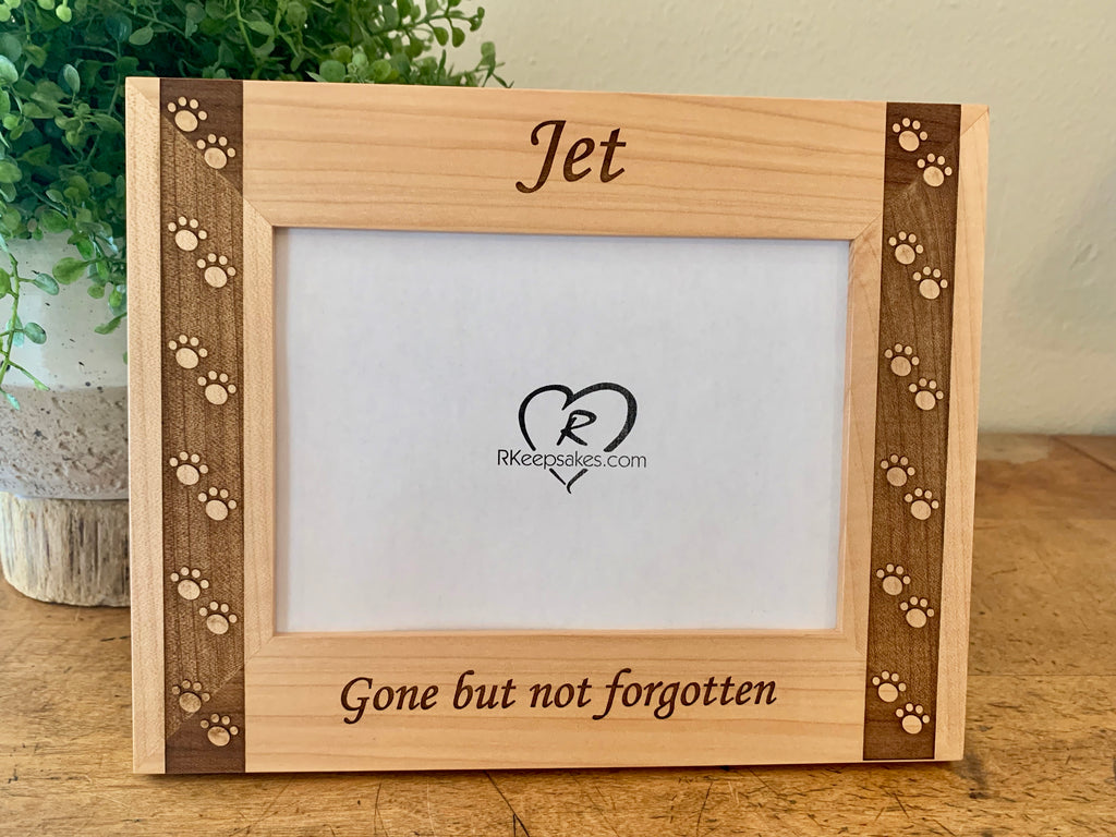 Personalized Pet Picture Frame with custom text and paw prints engraved