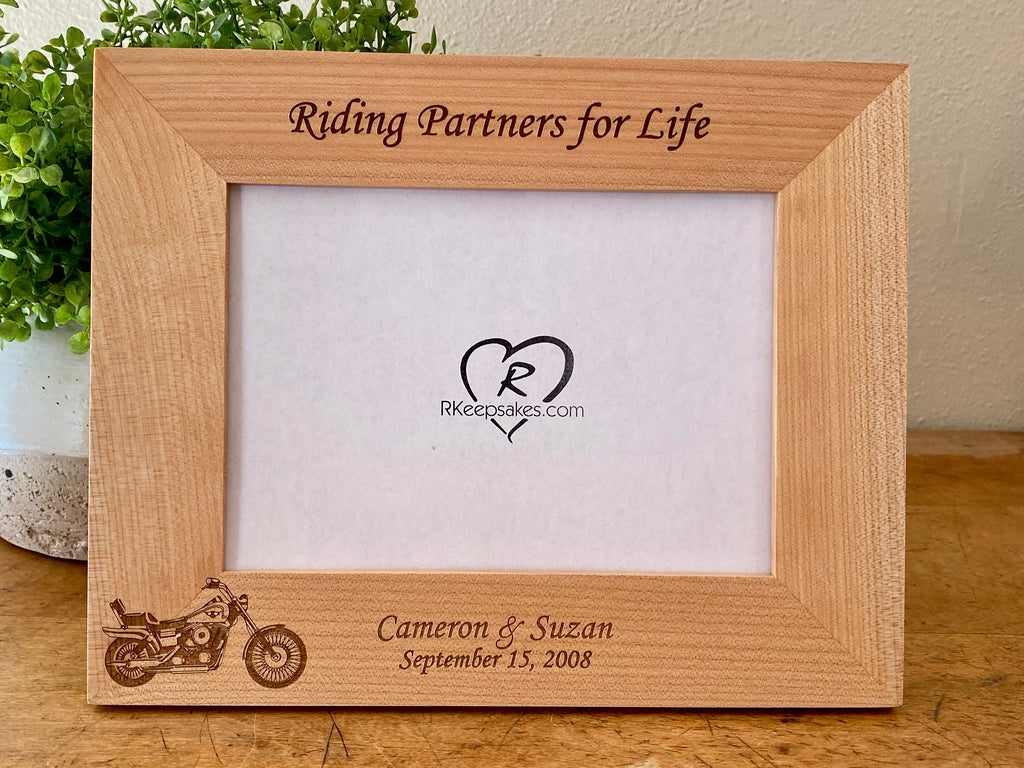 Personalized Motorcycle Picture Frame with custom text and motorcycle image engraved
