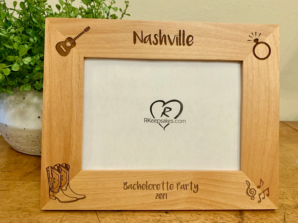 Custom Nashville Picture Frame with guitar, ring, cowboy boots and music images engraved, in alder