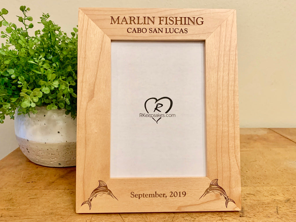 Marlin Fishing Picture Frame with Custom Text and marlin images engraved, in alder
