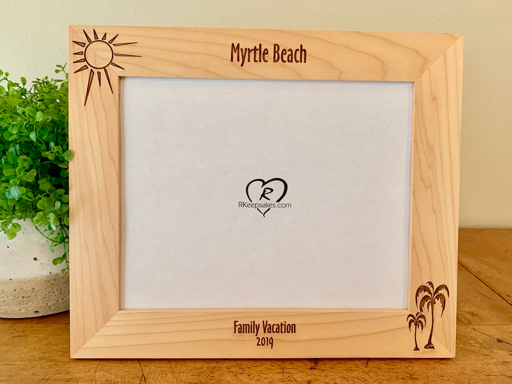 Palm Trees Picture Frame, Custom Text