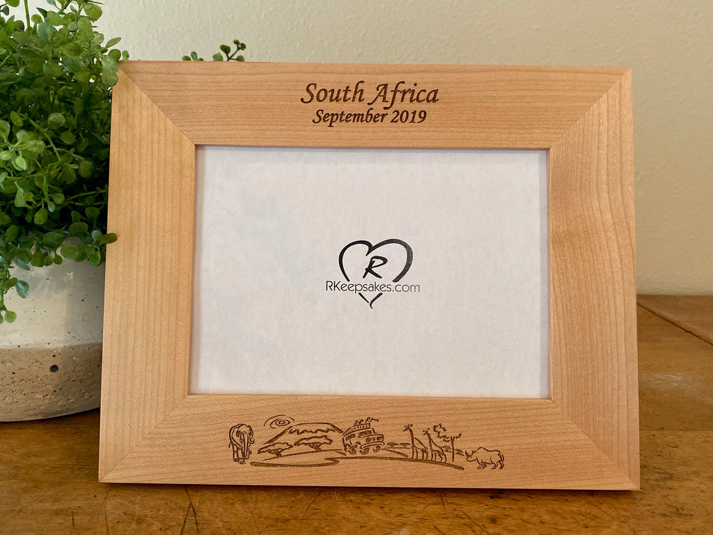 South Africa picture frame with custom text at the top and safari scene at the bottom