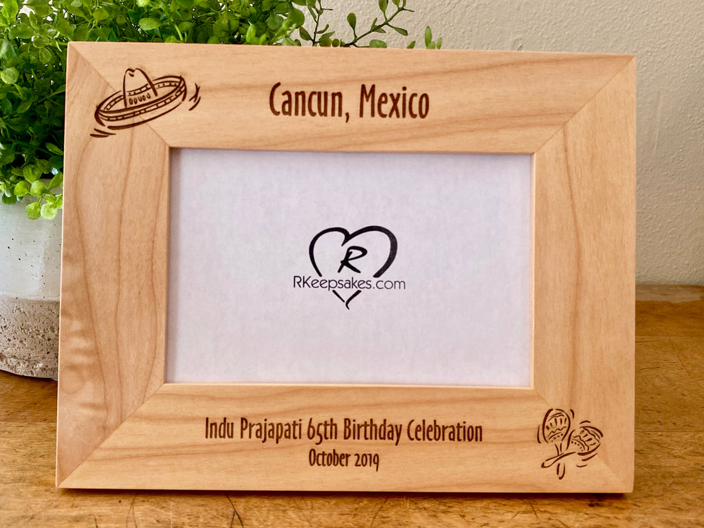 Personalized Cancun Picture Frame with custom text and engraved sombrero and maracas