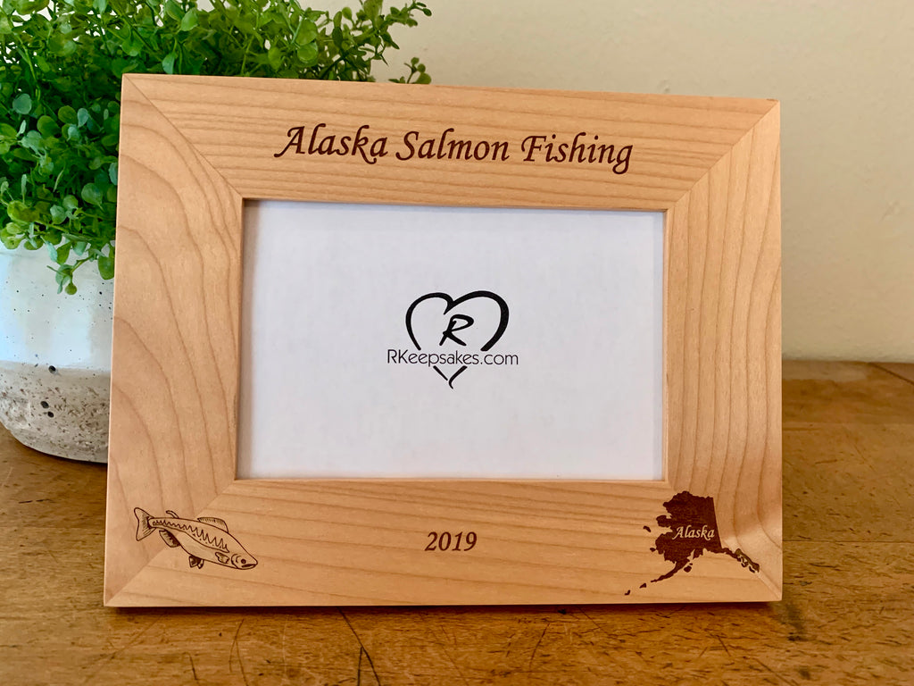 Personalized Alaska Salmon Picture Frame with custom text, salmon and silhouette of Alaska engraved, in alder