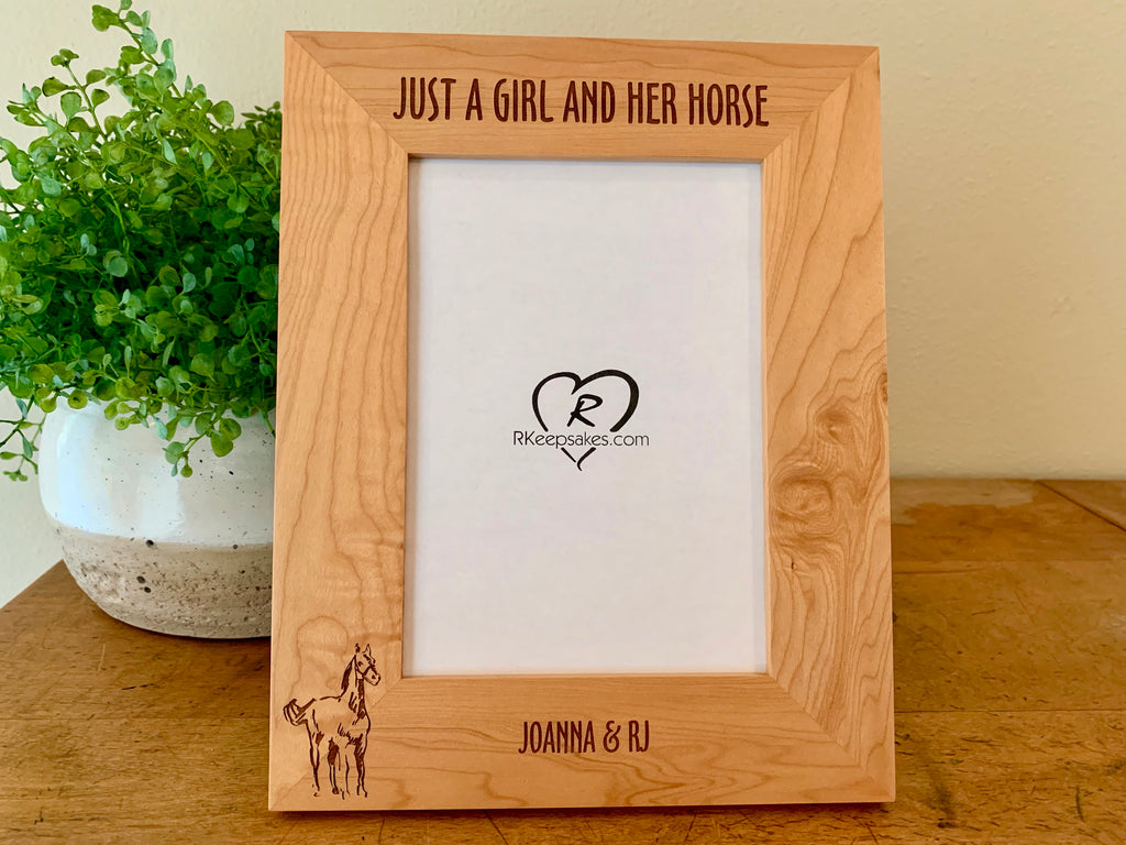 Personalized Horse Picture Frame with custom text and horse line drawing image engraved, alder