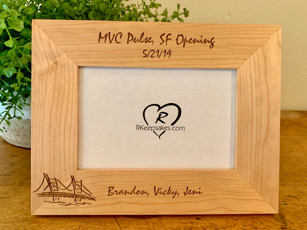 Personalized San Francisco Picture Frame with custom text and image of Golden Gate Bridge engraved
