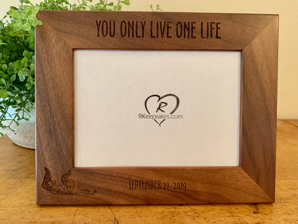 Personalized Skydiving Picture Frame with custom text and skydiver image engraved, in walnut, 2