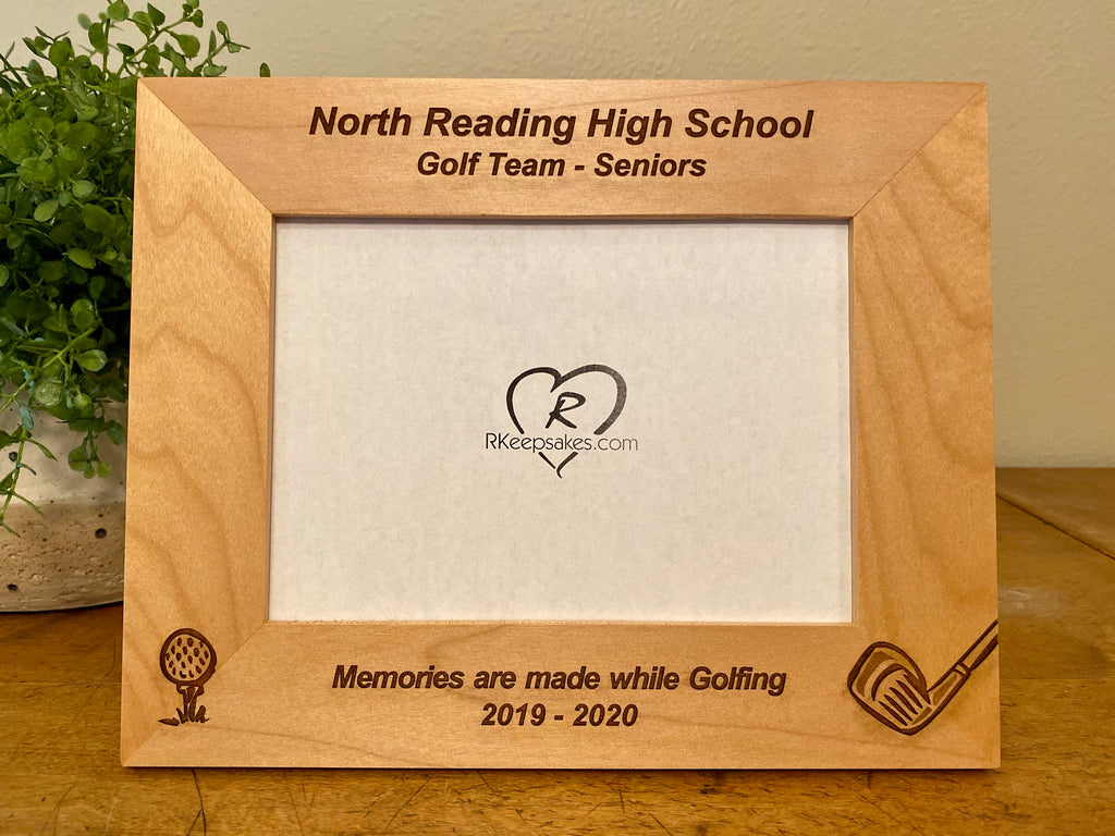 Personalized Golf picture frame with custom text, golf ball and golf club engraved