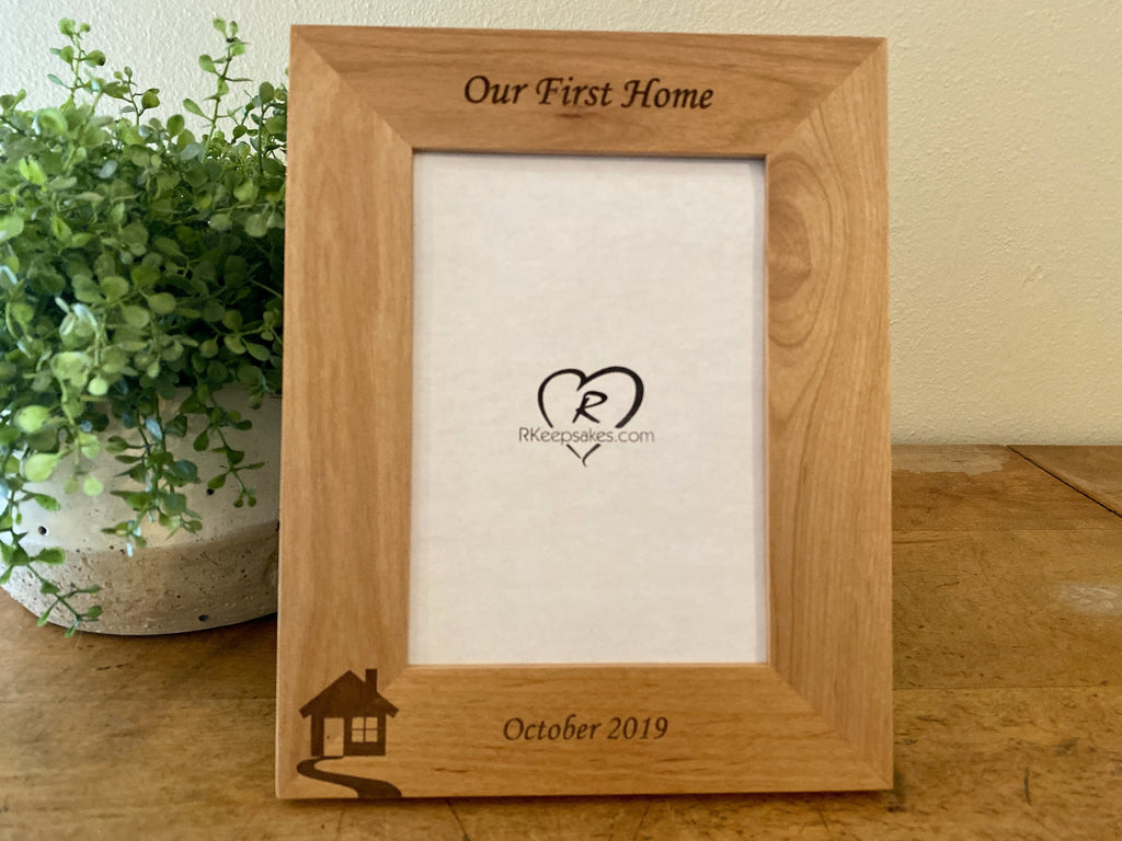 Personalized New Home Picture frame with custom text and house image engraved
