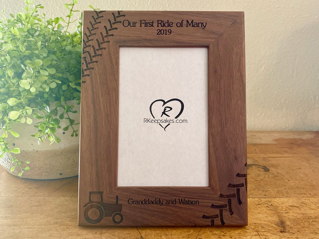 Personalized Tractor Picture Frame with Custom Text, tractor tracks and tractor image engraved in walnut wood
