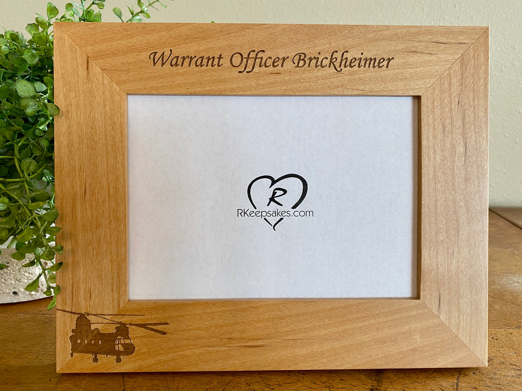 Chinook Helicopter Picture frame with custom text and chinook image engraved