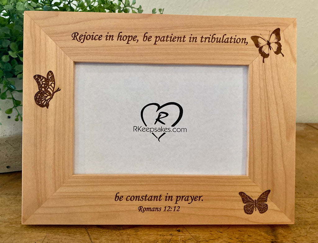 Butterfly picture frame with custom text, three butterflies engraved