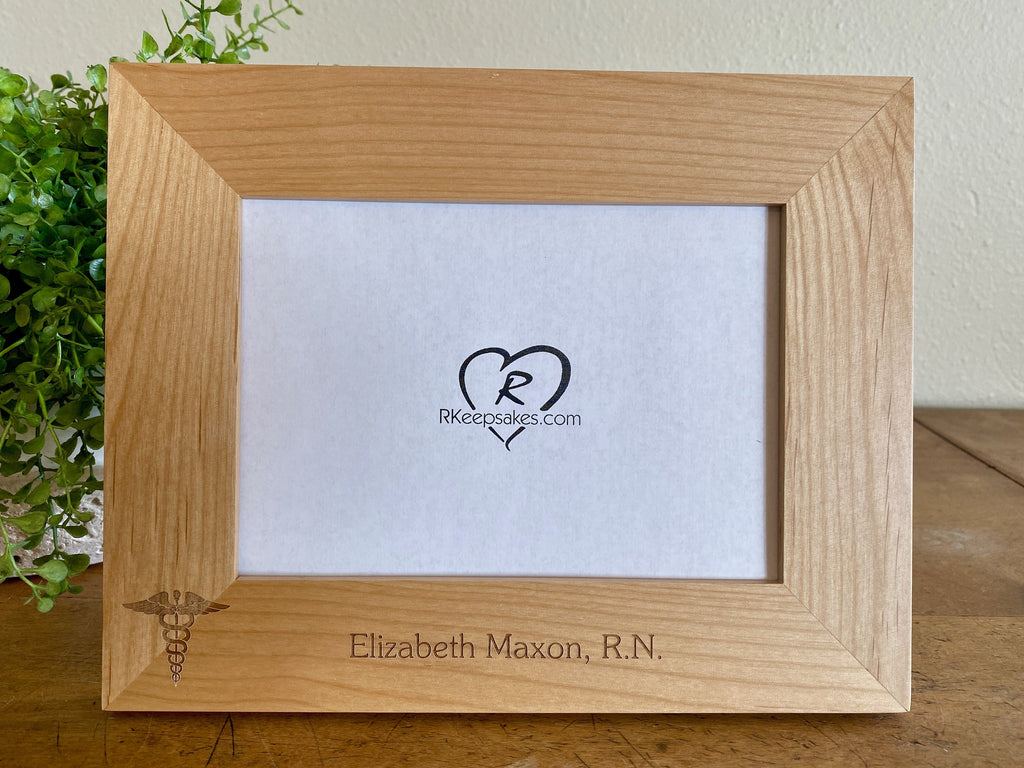 Personalized Nursing Picture Frame with custom text and nursing emblem engraved