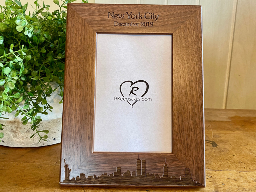 New York City Picture Frame with Custom Text and Skyline engraved in walnut