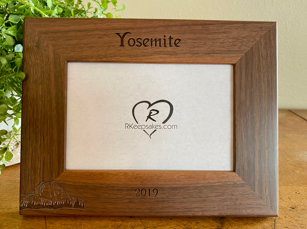 Personalized Yosemite Half Dome Picture Frame with custom text and Half Dome image engraved in walnut
