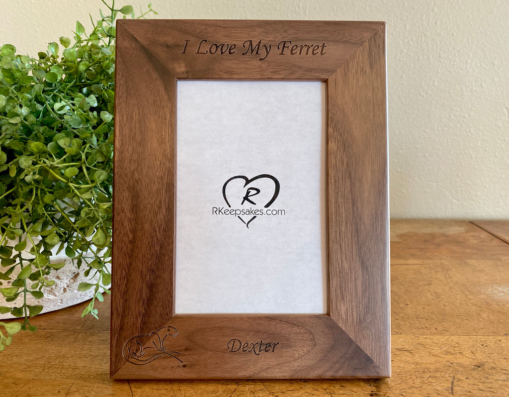 Ferret Picture frame with custom text and ferret image engraved