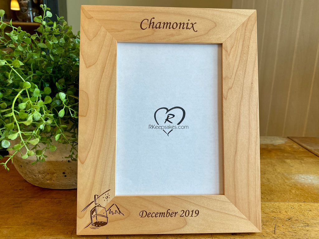 Ski Lift Picture Frame with Custom Text and image of ski lift engraved