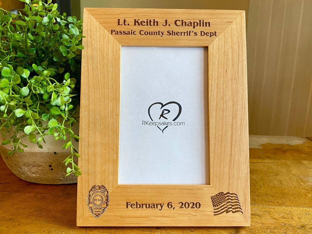 Personalized Police Badge Picture frame with custom text, Police badge and American flag images engraved