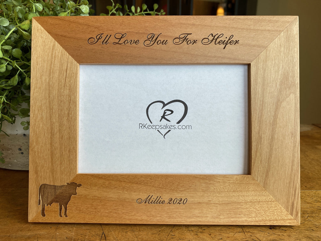 Cow Picture Frame with custom, personalized text and cow image engraved