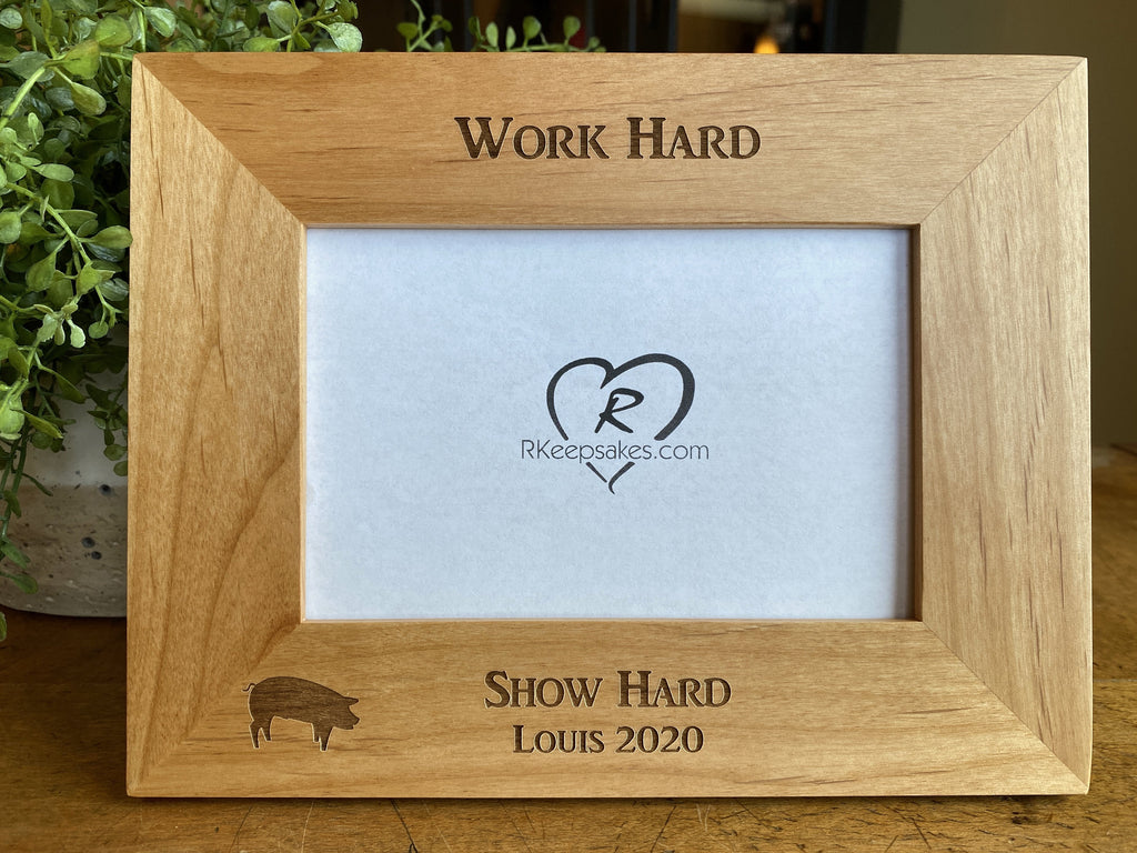 Pig Picture frame with custom personalized text and pig image engraved