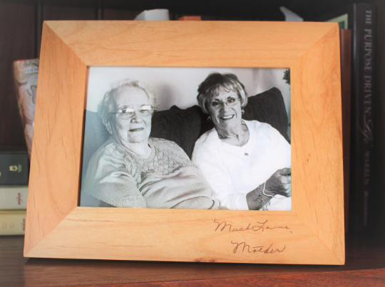 Custom Engraved Handwriting Picture Frame in alder