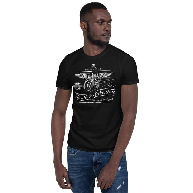 los-angeles-death-and-seduction-goth-streetwear-punk-rock-skulls-skeleton-crossbones-motorcycle-wings-city-of-angeles-vintage-harley-davidson-love-and-desutruction-Apparel & Accessories > Clothing (1604) - Death Racer Short-Sleeve Unisex T-Shirt