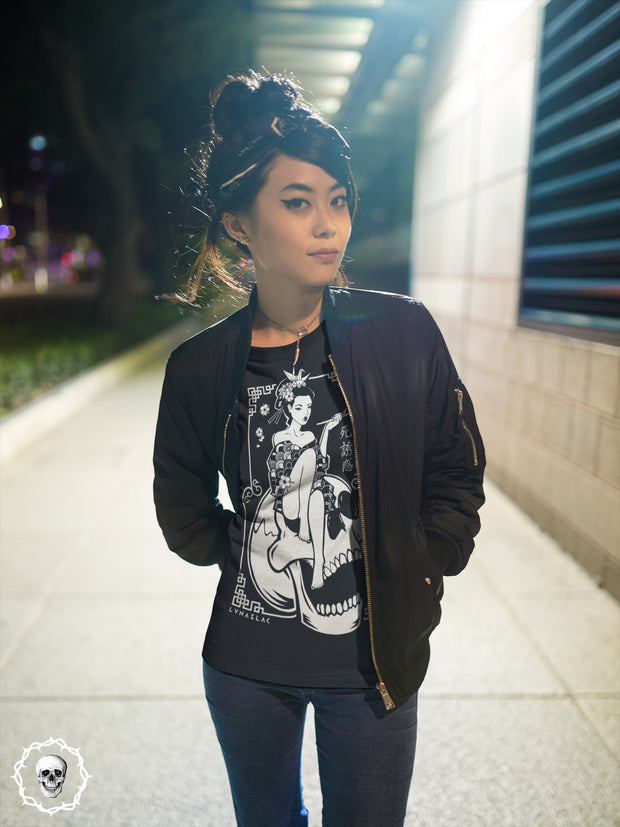 death-and-seduction-goth-geisha-punk-rock-Apparel & Accessories > Clothing (1604) - Death Geisha Sitting On Skull | Long Sleeve T-shirt