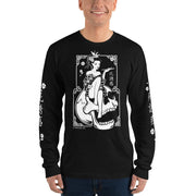 death-and-seduction-goth-geisha-punk-rock-Apparel & Accessories-Death Geisha Sitting On Skull | Long Sleeve T-shirt